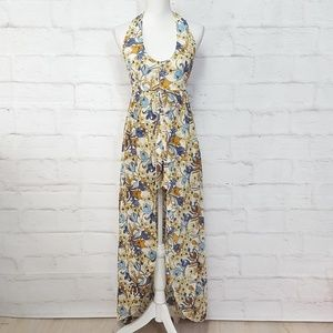 Pants - Boho Style Floral Romper with Long Skirt